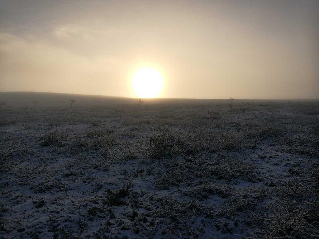 Karigasniemessä ihailtiin viimeisenä jahtipäivänä hienoja lumisia valoimiöitä